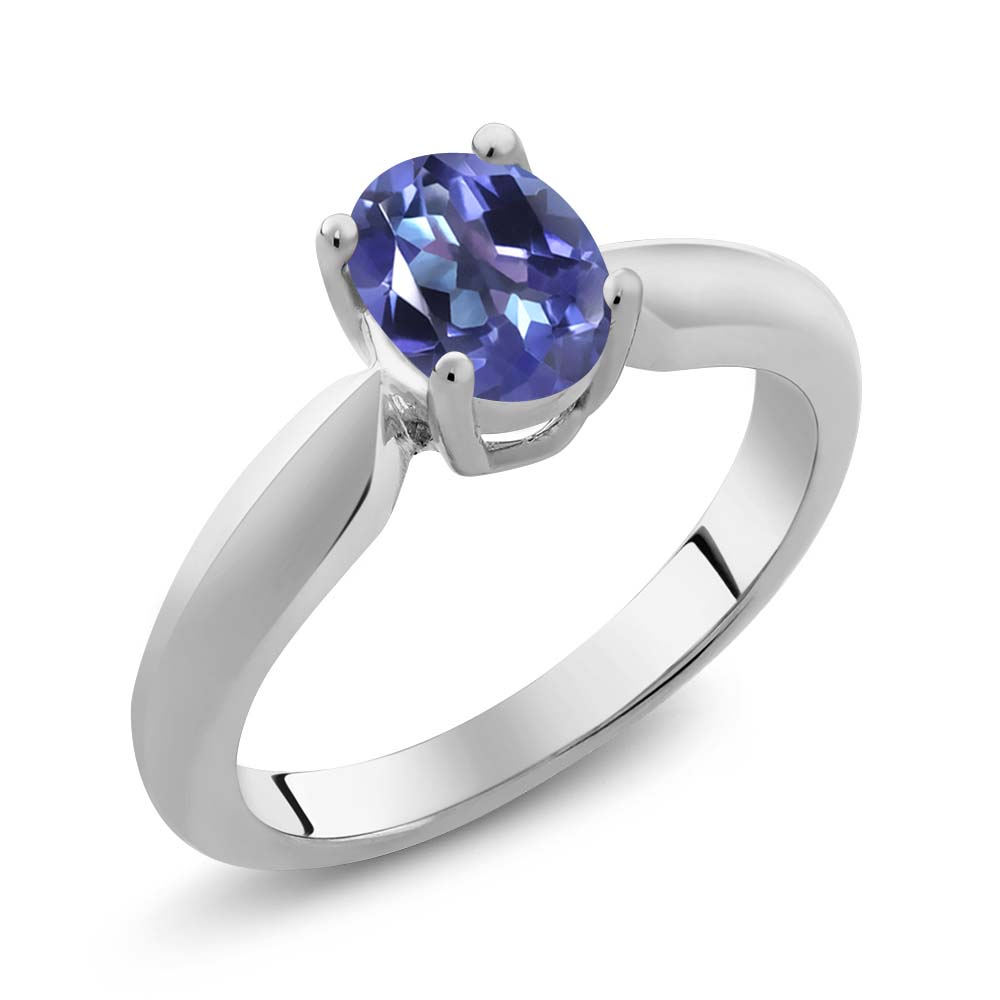 0.95 Ct Oval Purple Blue Mystic Topaz 925 Silver Ring