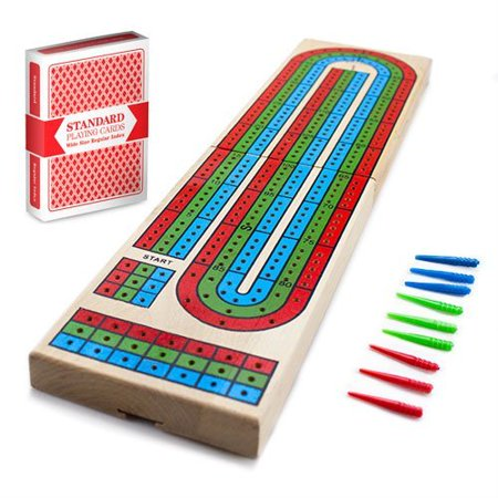 Brybelly Cribbage Traditional Wooden Board Game, Classic 3-Track Layout & Plastic Pegs with Free Deck of Playing Cards - Wooden Peg Game