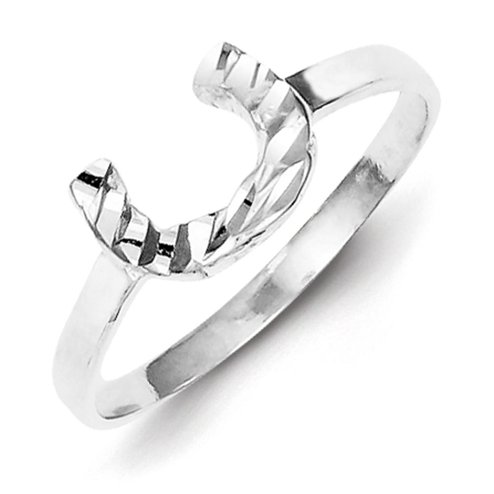 925 Sterling Silver Polished & Diamond-cut Horseshoe Ring Size 6