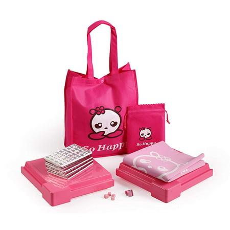 So Happy 144 Tile Chinese Pink Mahjong Set with Bag and Gaming Mat - Halloween Mahjong Games