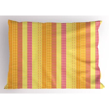Mix Style Star - Floral Pillow Sham Flowers Stars Stripes Mix Patchwork Style Motif Kids Baby Playroom Design, Decorative Standard Queen Size Printed Pillowcase, 30 X 20 Inches, Yellow Marigold Pink, by Ambesonne