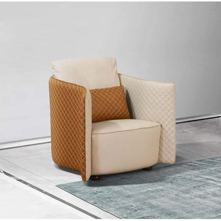 Luxury Italian Leather Beige & Orange Arm Chair MAKASSAR EUROPEAN FURNITURE