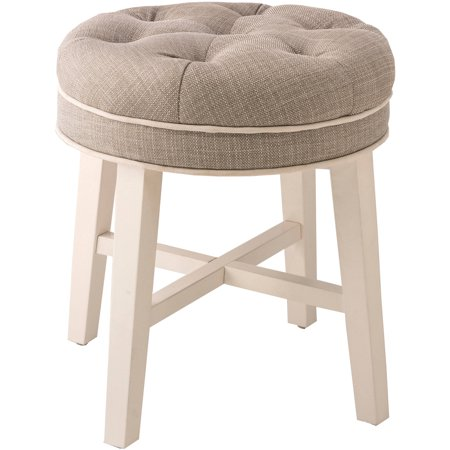 - Hillsdale Furniture Sophia Vanity Stool with Linen Gray Fabric
