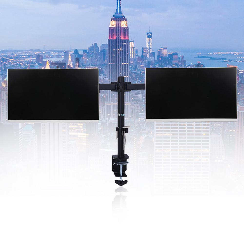 """Adjustable Dual Monitor Stand Mount for  LCD LED Computer PC Displayded Fits Two Screens Up to 27"""", 22 lbs Per Arm Capacity"""