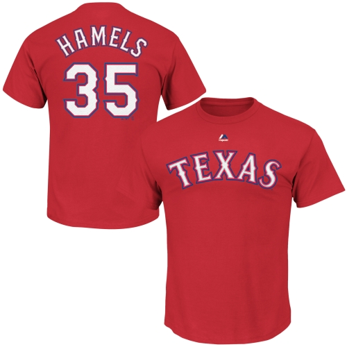 Cole Hamels Texas Rangers Majestic Youth Player Name & Number T-Shirt - Red
