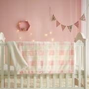 "Parent's Choice Pink 30"" x 40"" Faux Fur Buffalo Plaid Baby Blanket"