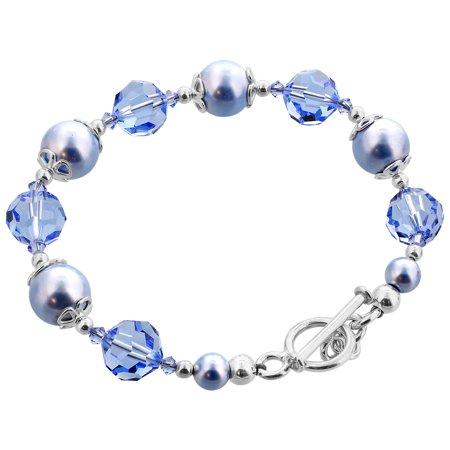 Swarovski Blue Bracelets - Gem Avenue Sterling Silver Blue Faux Pearl Handmade Bracelet 7.5 inch with Swarovski Elements Crystals