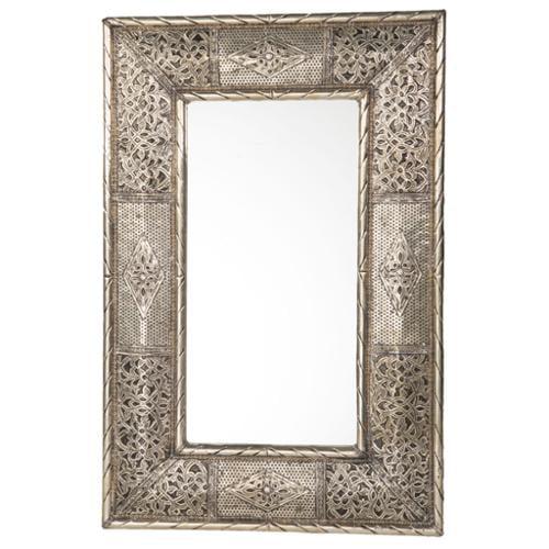 Moroccan Buzz 24-Inch Handcrafted Metalwork Moroccan Mirror  , Handmade in Morocco