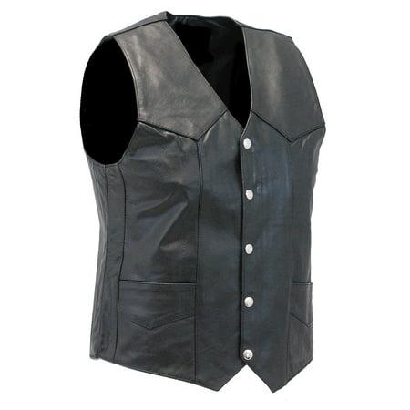 Men's Classic Black Leather Motorcycle Vest #VM400SP ()