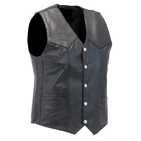 Classic Cowhide Vest - Men's Classic Black Leather Motorcycle Vest #VM400SP