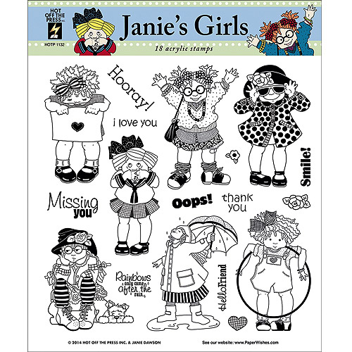 Hot Off The Press Acrylic Stamps, 8-Inch by 8-Inch, Janies Girls Multi-Colored