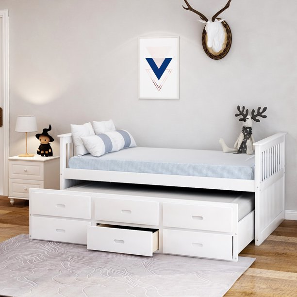 Merax Solid Wood Captain Bed With Trundle And Drawers Twin Multiple Colors Walmart Com Walmart Com