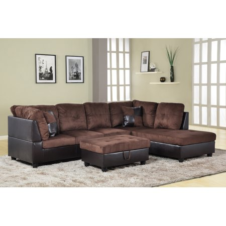 Aycp Furniture 3pcs L Shape Sectional Sofa Set Right Hand Facing Chaise Microfiber