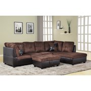 AYCP Furniture 3pcs L-Shape Sectional Sofa Set, Right Hand Facing Chaise, Microfiber & Faux Leather Upholstery Material, Chocolate Color, More Colors & Styles Available