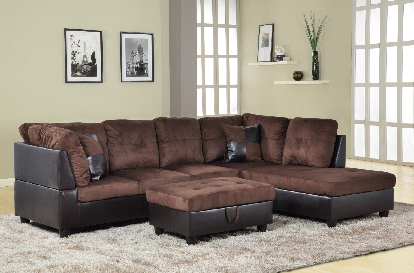 Product Image AYCP Furniture 3pcs L Shape Sectional Sofa Set, Right Hand  Facing Chaise, Microfiber