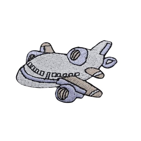 Airplane/Jet - Small-  White/Blue - Iron on Applique/Embroidered Patch