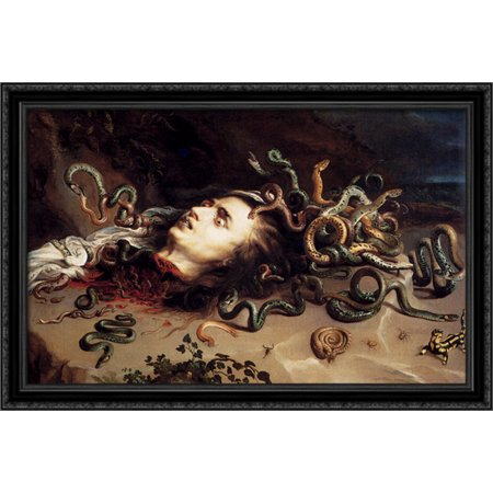 Medusa Head Piece (Head Of Medusa 40x26 Large Black Ornate Wood Framed Canvas Art by Peter Paul)