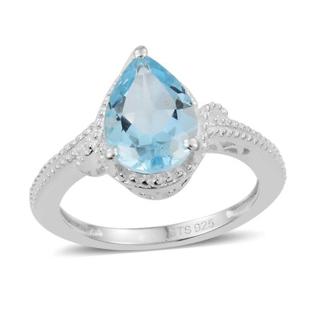 Girls 925 Sterling Silver Sky Blue Topaz Pear Solitaire Ring Jewelry