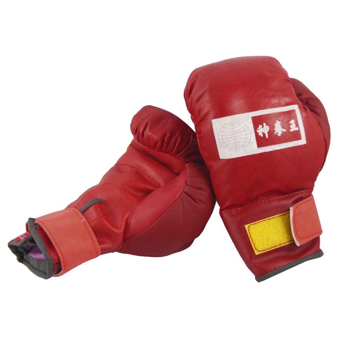 Unique Bargains Adjustable Faux Leather Kids Children Training Boxing Gloves