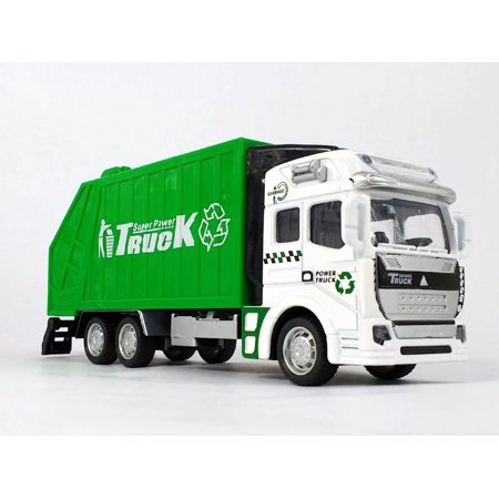 7.5 Inch Garbage and Recycling Truck Scale Diecast Metal Model Diecast Metal Sprung Trucks