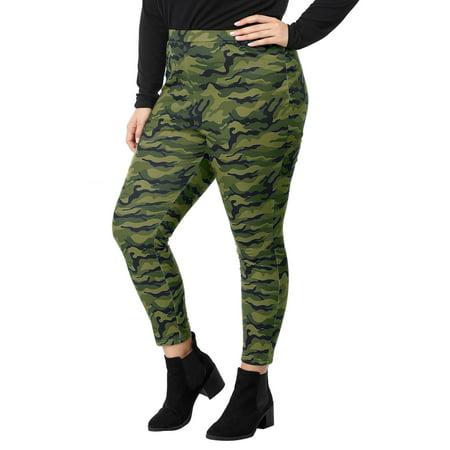 Women Plus Size Elastic Waist Stretch Camouflage Skinny Leggings Green 1X - image 6 of 7