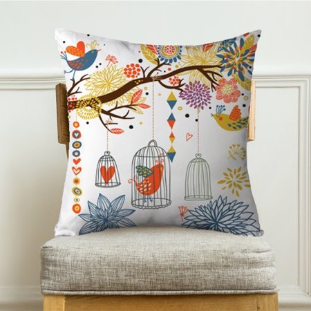 wendana Bird Throw Pillow Case Cover Cage Tree Flower 18
