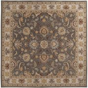 Hand-tufted Coliseum Gray Traditional Border Wool Area Rug (9'9 Square)