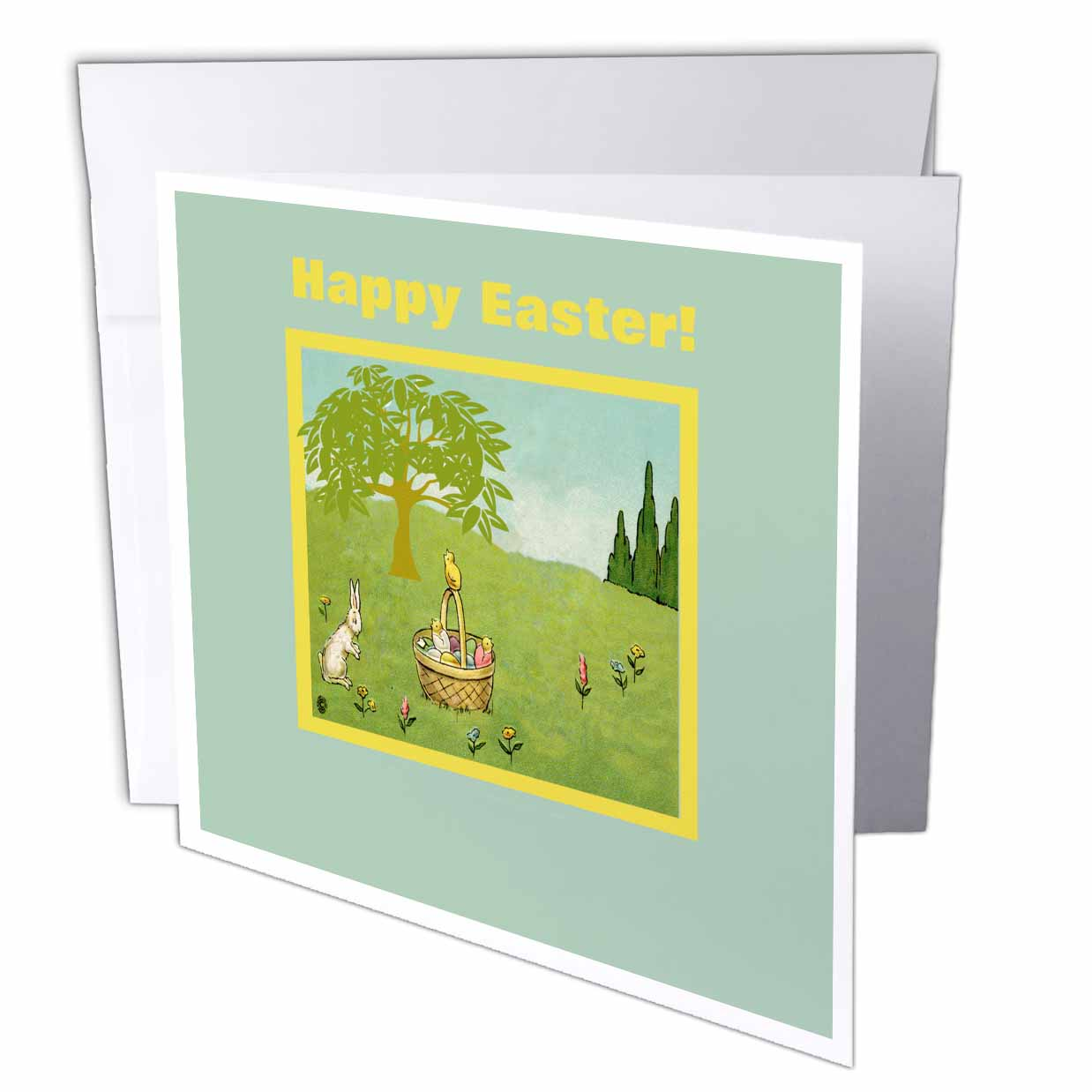 3dRose Bunny Rabbit and Chicks with Easter Baskets with Eggs, Happy Easter, Greeting Cards, 6 x 6 inches, set of 12