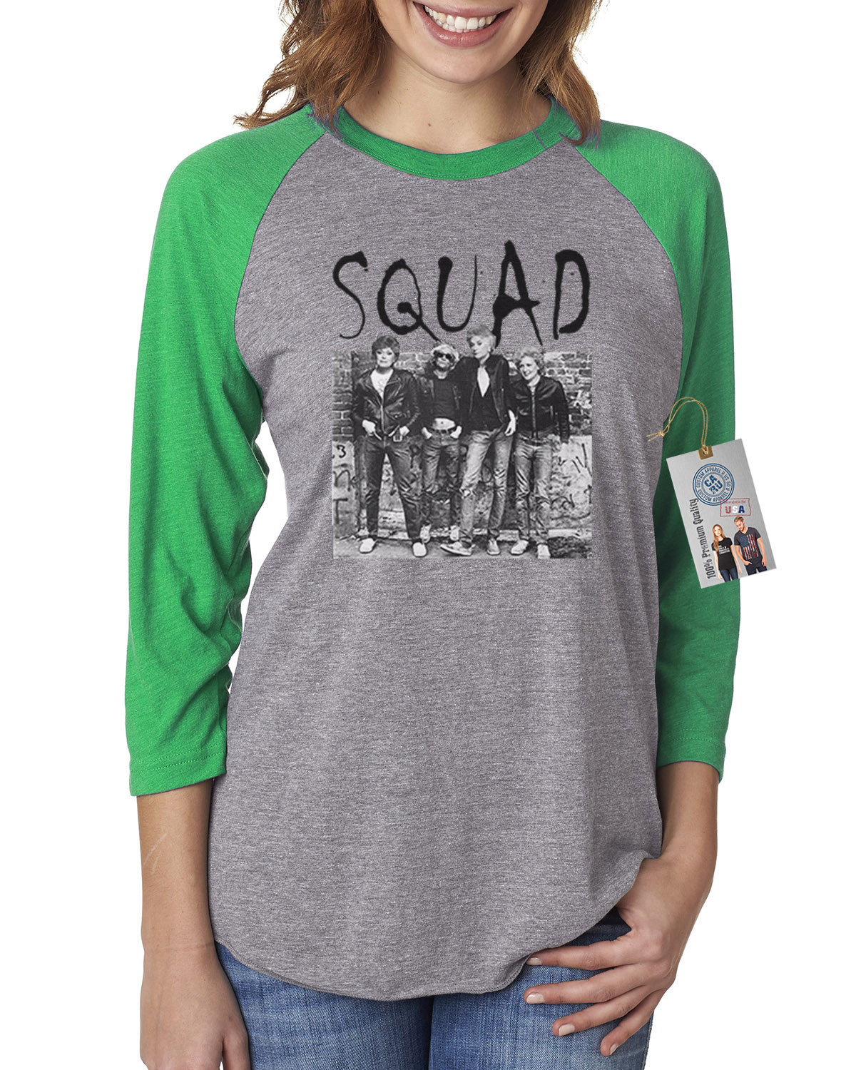 Golden Girls Squad Gang TV Show Womens 3/4 Raglan Sleeve Shirt Top