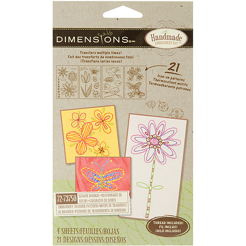 Dimensions Handmade Collection Flower Doodles Embroidery Transfer