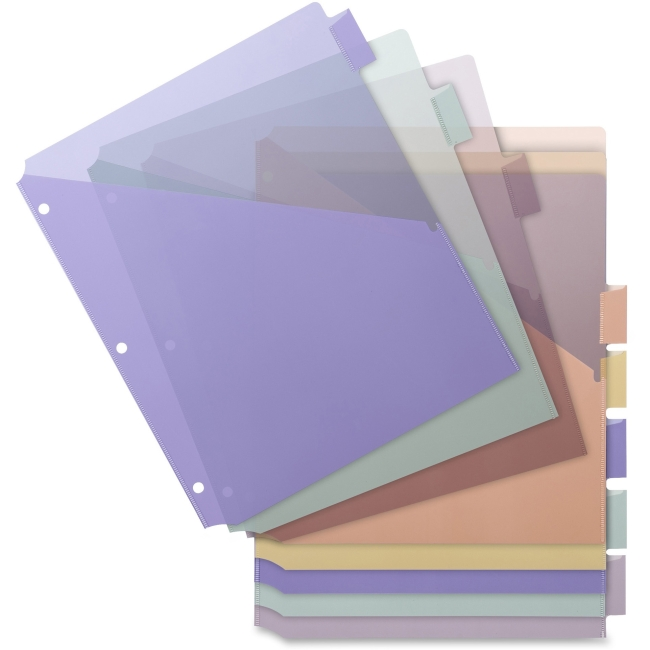 "Business Source Pocket Index Dividers - 8 Print-on Tab(s) - 8.5"" Divider Width x 11"" Divider Length - Letter - Plastic Divider - Multicolor Tab(s) - 8 / Set"