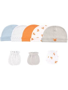 Luvable Friends Baby Boy Cap and Scratch Mittens, 8-Pack