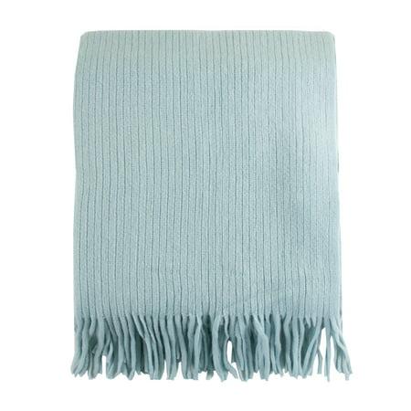 Home Decor Faux Cashmere Soft Cozy Throw Blanket (Aqua)