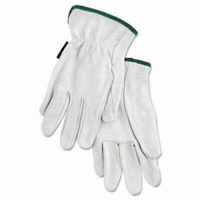Memphis Grain Goatskin Driver Gloves, White, Medium
