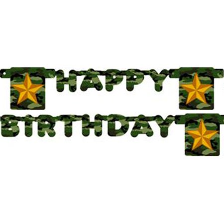 Military Camouflage Happy Birthday Banner (1ct) - Camo Happy Birthday