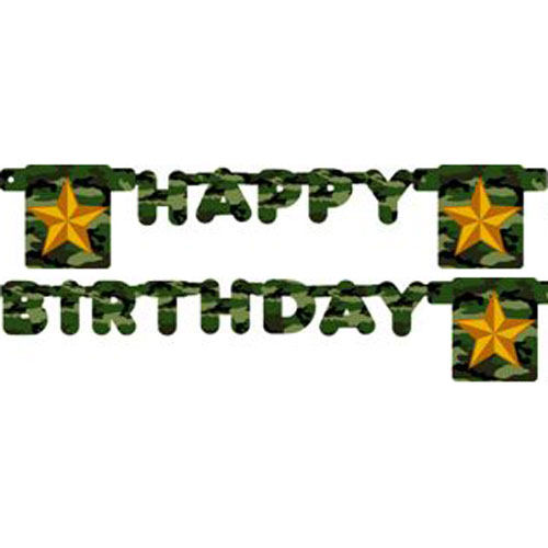 Military Camouflage Happy Birthday Banner (1ct)