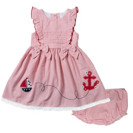 Good Lad Infant Girls Red Seersucker Dress with Sailboat and Anchor Appliques (Summer Seersucker)
