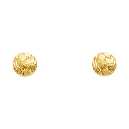 14k Yellow Gold Small Soccer Ball Post Earrings, (8mm X (Small Ball Earrings)
