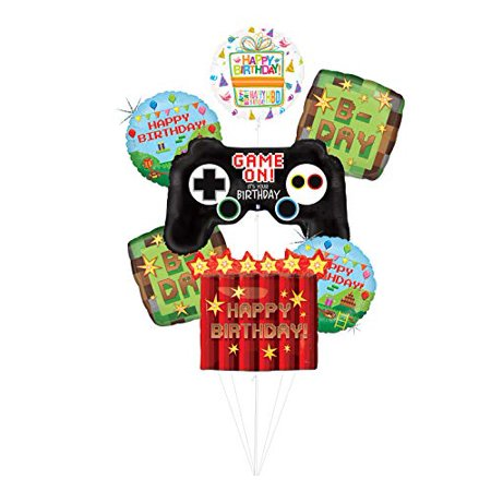 Halloween Party Balloon Games (Video Game Birthday Party Supplies Miner Pixelated TNT Minecraft-Inspired Balloon Bouquet Decorations With Controller and)