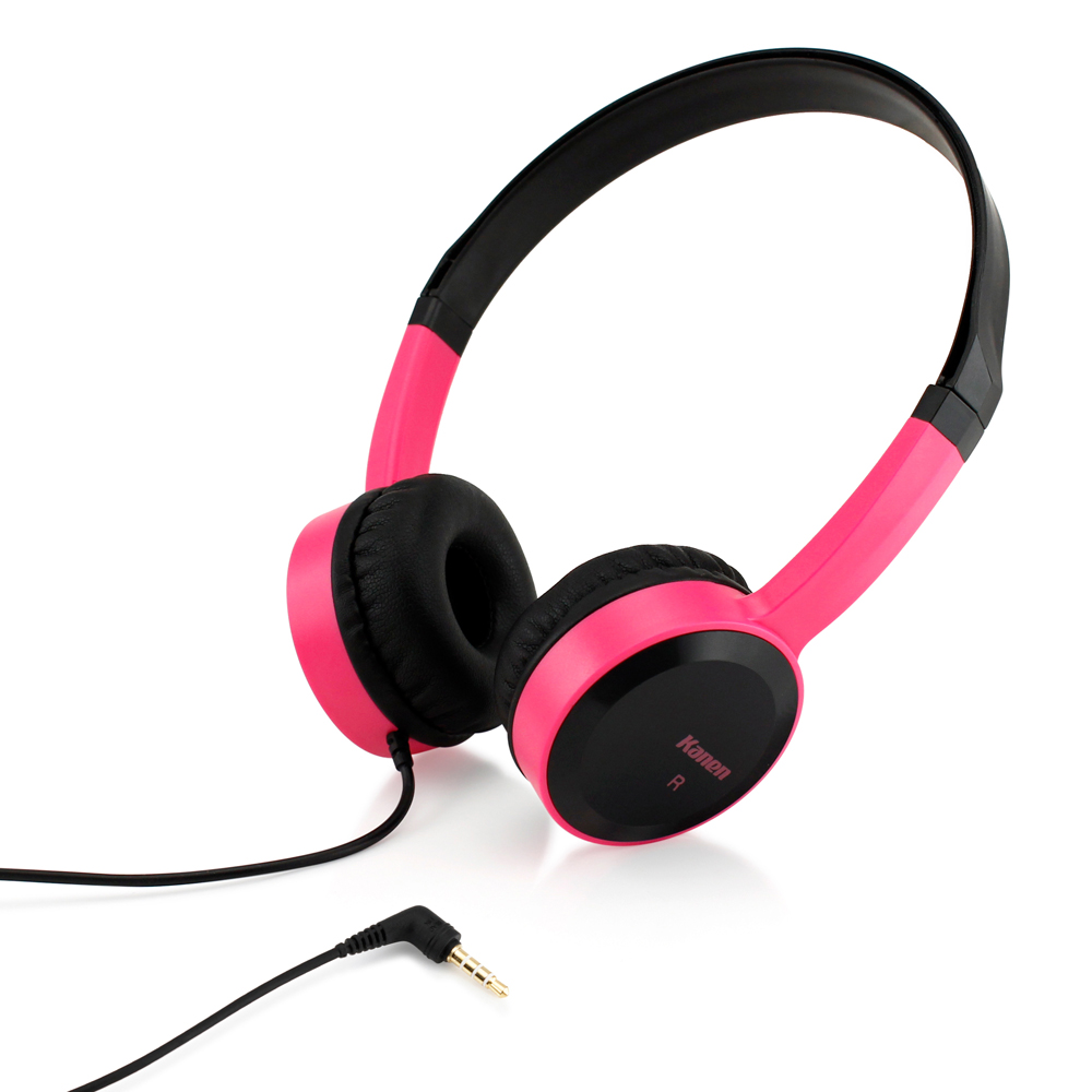 3.5mm Stereo Headphone Earphone Headset for iPhone iPod MP3 MP4 PC Tablet Laptop - Black Pink