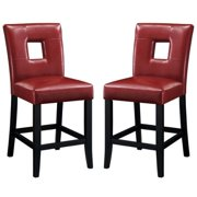 A Line Furniture Epcot Open Back Red Upholstered Counter Height Stools (Set of 2)