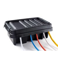 SOCKiTBOX ? The Original Weatherproof Connection Box ? Indoor & Outdoor Electrical Power Cord Enclosure for Timers, Extension Cables, Transformers, Power Strips, Lights, Tools & More ? Medium ? Black