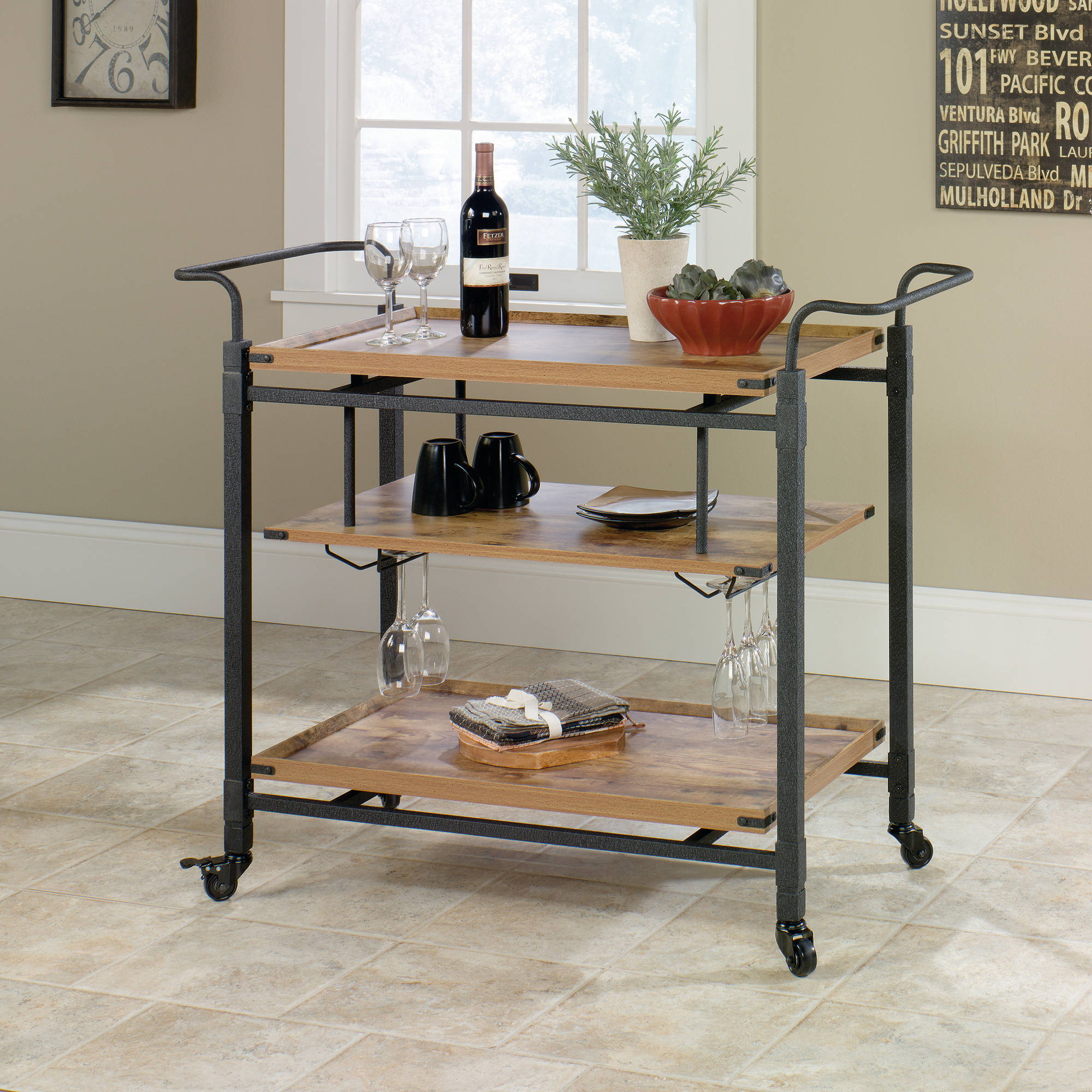 better homes and gardens rustic country bar cart, antiqued black