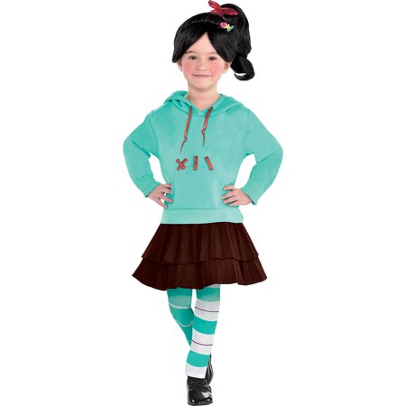 Two Girls Costumes (Suit Yourself Wreck-It Ralph 2 Vanellope Costume for Girls, Includes a Dress, Leggings, Hair Clips, and)