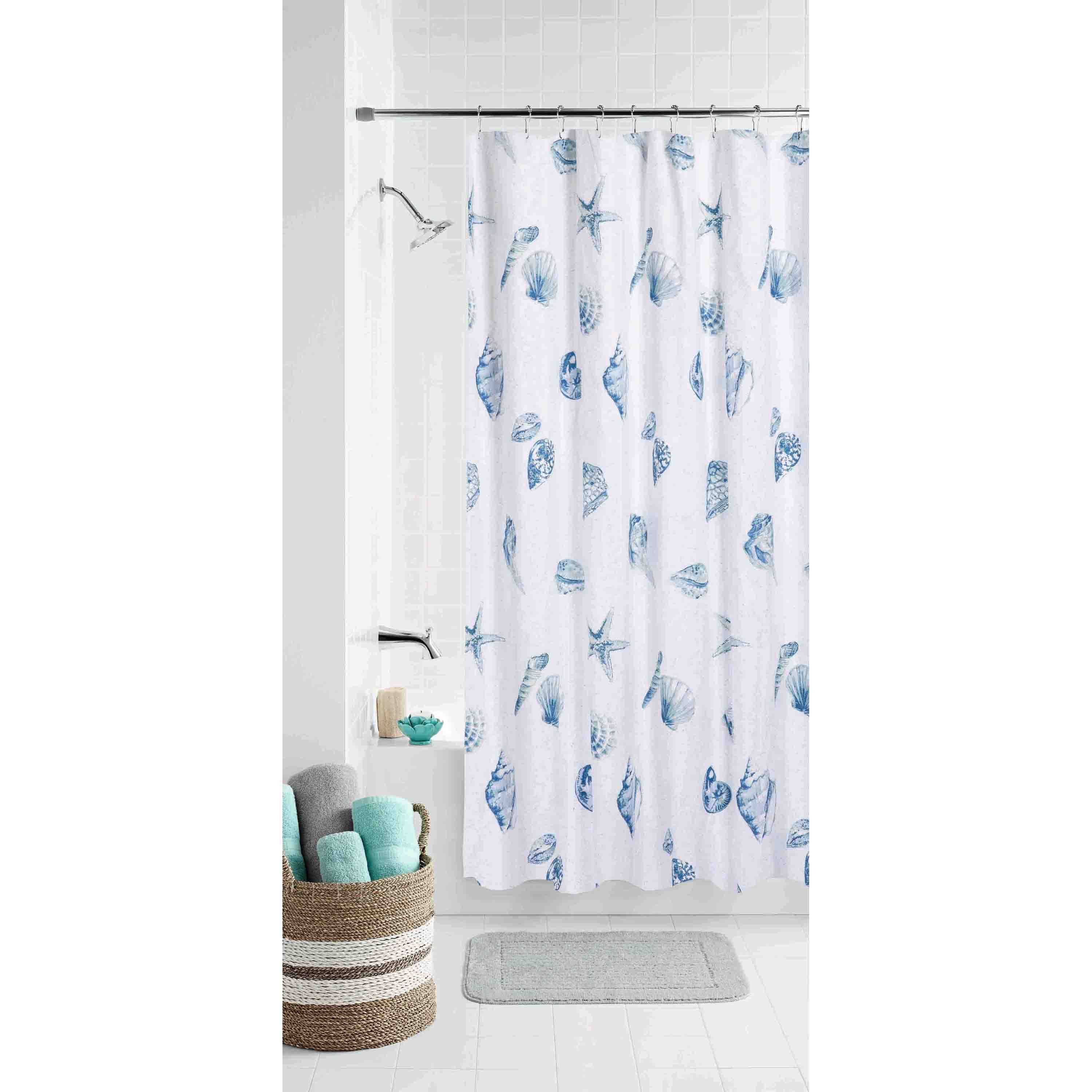 Mainstay Seashell Toss Coordinating Fabric Shower Curtain