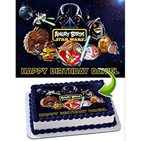 Star Wars Angry Birds Edible Image Cake Topper Personalized Icing Sugar Paper A4 Sheet Edible Frosting Photo Cake (Personalized Star Wars)