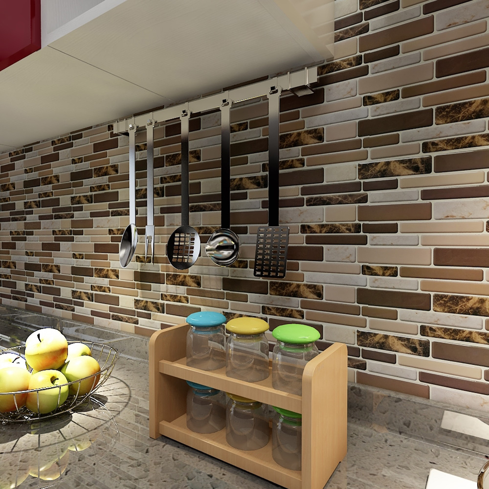 """Art3d 12"""" x 12"""" Peel and Stick Tiles for Kitchen Backsplash Self Adhesive Wall Tile 3D Wall Sticker"""