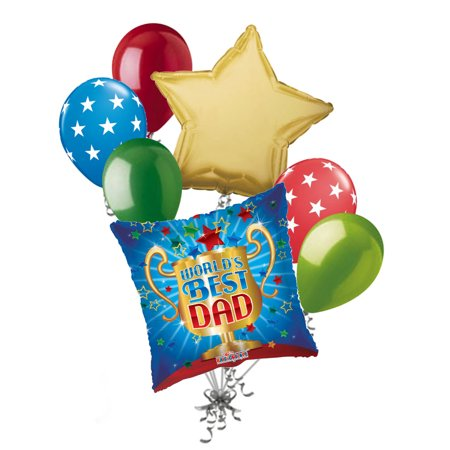 7 pc World's Best Dad Trophy Happy Father's Day Balloon Bouquet Party (Father's Day Balloons)
