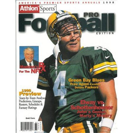 Athlon CTBL-012303 Brett Favre Unsigned Bay Packers Sports 1998 NFL Pro Football Preview Magazine - Green Brett Favre Green Bay Packers