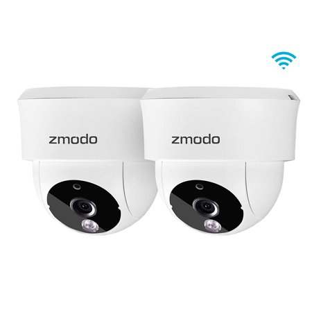 Zmodo 2 Pack 115° Wide-Angle Indoor Camera, Wireless Security System w/Remote Monitoring, Night Vision, Cloud Service on iOS, Android (Best Remote Camera App Android)